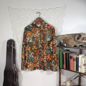 Vintage orange floral poly button up